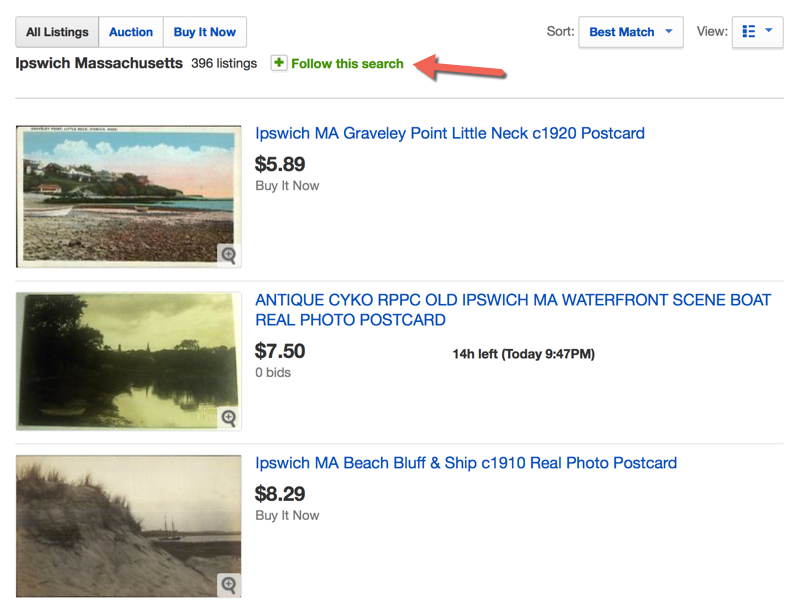 Click the Follow Search to receive notifications when new items that match search criteria are added